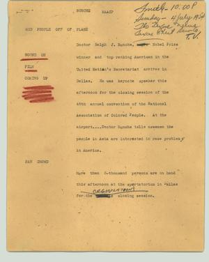 Primary view of object titled '[News Script: Bunche NAACP]'.