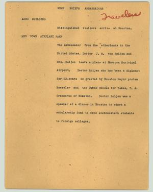 Primary view of object titled '[News Script: News briefs ambassadors]'.