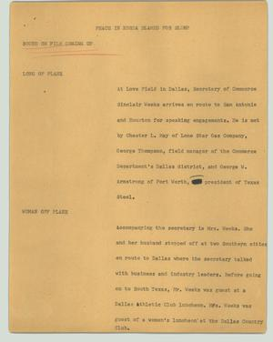 Primary view of object titled '[News Script: Peace in Korea blamed for slump]'.
