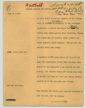Primary view of object titled '[News Script: Alabama arrives for Cotton Bowl]'.