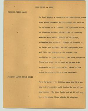 Primary view of object titled '[News Script: News brief -- fire]'.