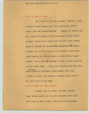 Primary view of object titled '[News Script: Cats come home from Florida camp]'.