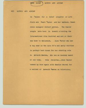 Primary view of object titled '[News Script: Gaynor and Adrian]'.