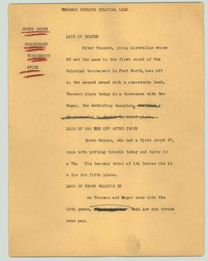 Primary view of object titled '[News Script: Thomson retains Colonial lead]'.
