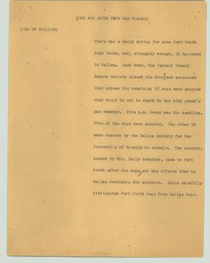 Primary view of object titled '[News Script: Dogs are saved from gas chamber]'.