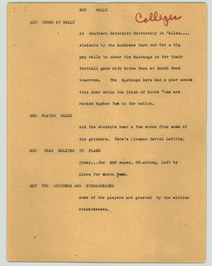 Primary view of object titled '[News Script: SMU rally]'.