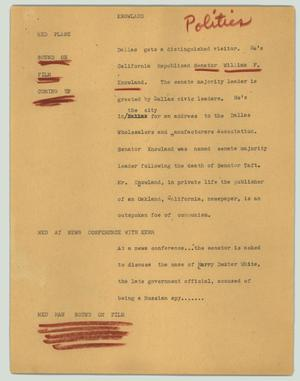 Primary view of object titled '[News Script: Knowland]'.