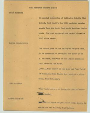 Primary view of object titled '[News Script: ROTC marksmen receive awards]'.