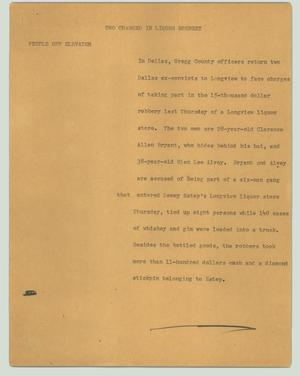 Primary view of object titled '[News Script: Two charged in liquor robbery]'.