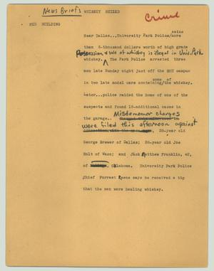 Primary view of object titled '[News Script: Whiskey seized]'.