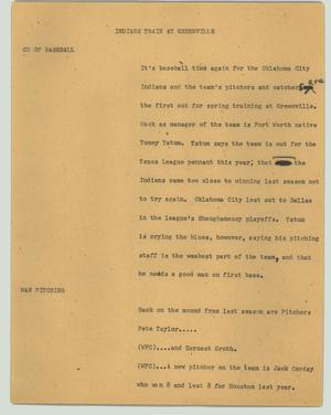 Primary view of object titled '[News Script: Indians train at Greenville]'.