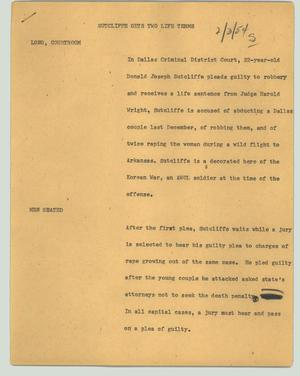 Primary view of object titled '[News Script: Sutcliffe gets two life terms]'.