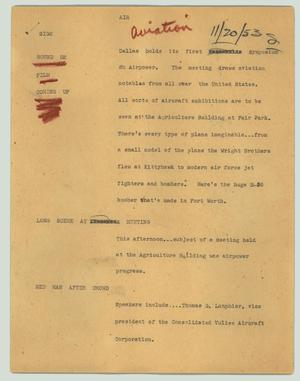 Primary view of object titled '[News Script: Air]'.