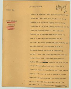 Primary view of object titled '[News Script: Toll road survey]'.