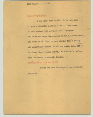 Primary view of object titled '[News Script: News briefs 1 --- fire]'.