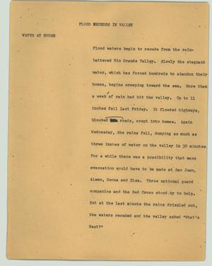 Primary view of object titled '[News Script: Flood recedes in valley]'.