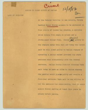 Primary view of object titled '[News Script: Binion to plead guilty at Dallas]'.