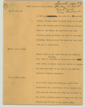 Primary view of object titled '[News Script: Woman slain on Dallas street]'.