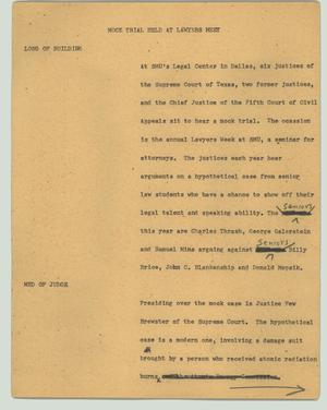 Primary view of object titled '[News Script: Mock trial held at lawyer's meet]'.