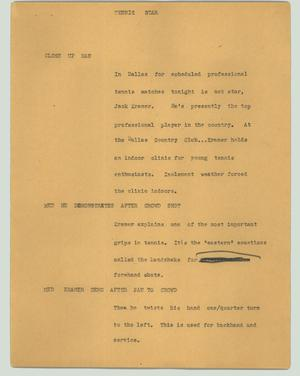 Primary view of object titled '[News Script: Tennis star]'.