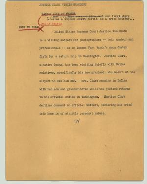 Primary view of object titled '[News Script: Justice Clark visits grandson]'.