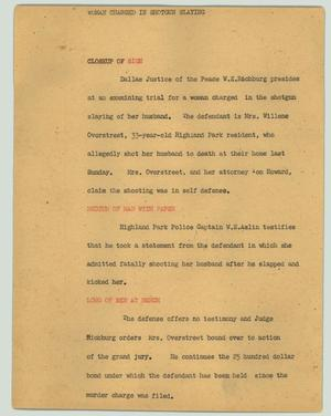Primary view of object titled '[News Script: Woman charged in shotgun slaying]'.