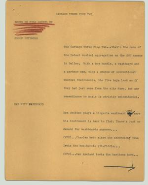Primary view of object titled '[News Script: Garbage three plus two]'.