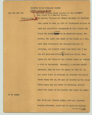 Primary view of object titled '[News Script: Haunted house burglary probed]'.