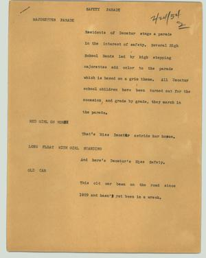 Primary view of object titled '[News Script: Safety parade]'.