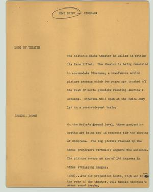 Primary view of object titled '[News Script: News brief - Cinerama]'.