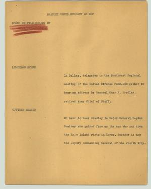 Primary view of object titled '[News Script: Bradley urges support of UDF]'.