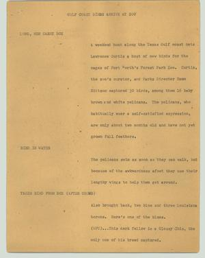 Primary view of object titled '[News Script: Gulf Coast birds arrive at zoo]'.