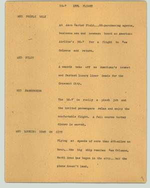 Primary view of object titled '[News Script: DC-7 IFFL flight]'.