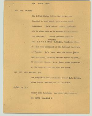 Primary view of object titled '[News Script: New USPHS boss]'.