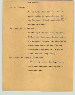 Primary view of object titled '[News Script: Bus hearing]'.