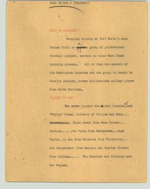 Primary view of object titled '[News Script: News briefs 1 (football)]'.