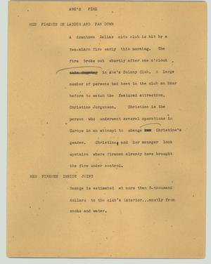 Primary view of object titled '[News Script: Abe's fire]'.