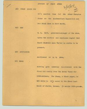 Primary view of object titled '[News Script: Auction of champ steer]'.