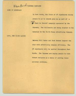 Primary view of object titled '[News Script: News brief - Jaycees campaign]'.