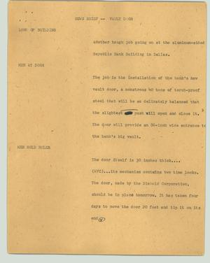 Primary view of object titled '[News Script: News brief - vault door]'.