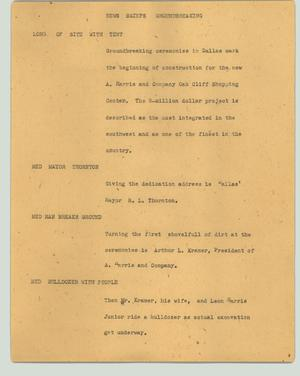 Primary view of object titled '[News Script: News briefs groundbreaking]'.