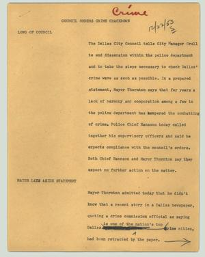 Primary view of object titled '[News Script: Council orders crime crackdown]'.