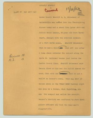 Primary view of object titled '[News Script: Assault suspect]'.