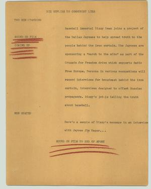 Primary view of object titled '[News Script: Diz replies to communist lies]'.
