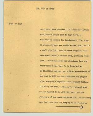 Primary view of object titled '[News Script: Big boat is moved]'.