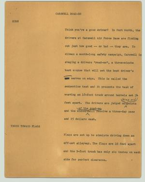 Primary view of object titled '[News Script: Carswell road-eo]'.