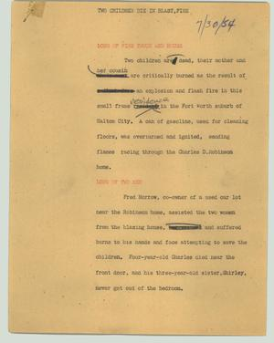 Primary view of object titled '[News Script: Two children die in blast, fire]'.