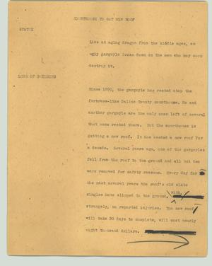 Primary view of object titled '[News Script: Courthouse to get new roof]'.