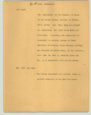 Primary view of object titled '[News Script: Gook ambassador]'.