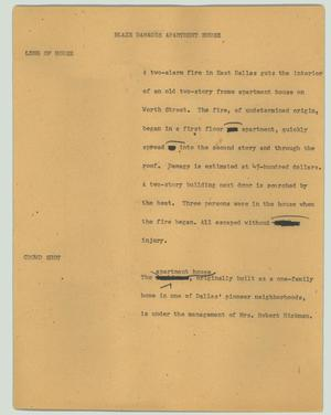 Primary view of object titled '[News Script: Blaze damages apartment house]'.